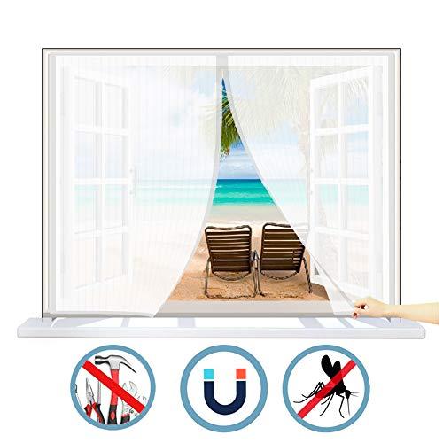 WISKEO Magnet Fliegengitter Fenster Innen Verschiedene Größen Moskitoschutz Magnetvorhang Anti-Moskito Insektenschutzgitter Stabil Selbstklebend Schiebe Dach Tür - Weiß 55x115cm(WxH)