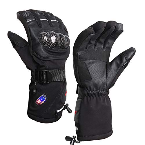 RTDEP Heated Riding Motorcycle Gloves Touch Screen Gloves Winter Warm Leather Gloves with...