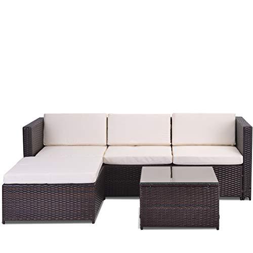 YINKUU Juego de sofá de esquina de jardín de ratán, muebles de jardín, patio, juego de muebles de jardín, muebles de ratán (marrón)