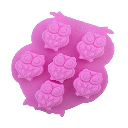 CAOLATOR Silikon-Kuchenform Seifenformen Silikon Muffinform Silikonform Silikon Formen Eule Muster Muffin Gelee Pudding Dessert Schimmel mit 6 Hohlraum für Seife, Backen Size 13.5 * 11.2 * 2cm