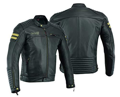 Giacca da moto in pelle da uomo, con protezioni armour, stile vintage consumato, colore nero, DC-2810A