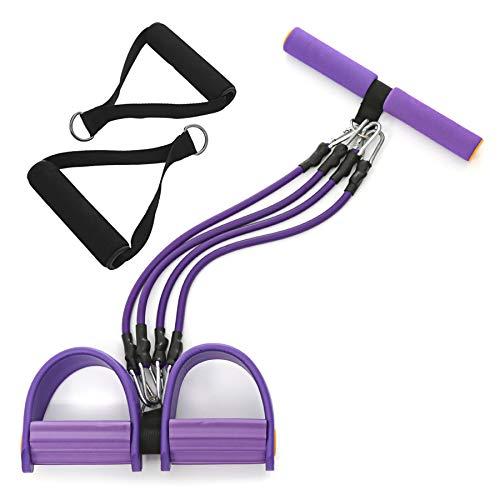 Pumoes Widerstandsbänder-Set Workout Abnehmbare Zugseile für Beine mit Pedalen und Griffen, Sit-Ups Yoga Stretches Fitness-Werkzeug für Po-Übungen, Kraft-Bauchtrainer für Zuhause und Reisen, Lila