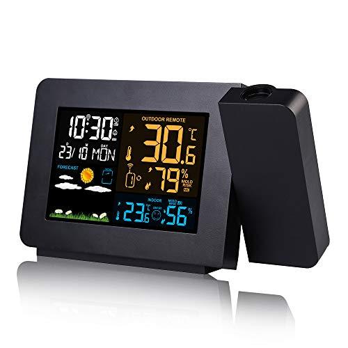FORNORM Wetterstation Mit Außensensor, LCD Bunten Bildschirm Wireless Wettervorhersage Projektionsuhr mit Dual Alarm Clock ℃/℉, 12/24H, 5V DC USB Stromversorgung