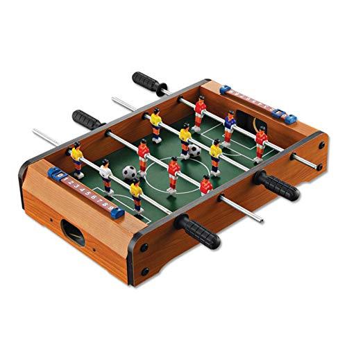 Mini futbolín de mesa, incluye 2 pelotas, 4 variantes decorativos, 4 barras, futbolín de mesa, para niños y adultos, aspecto de madera, robusto, futbolín de fútbol como práctico mantel
