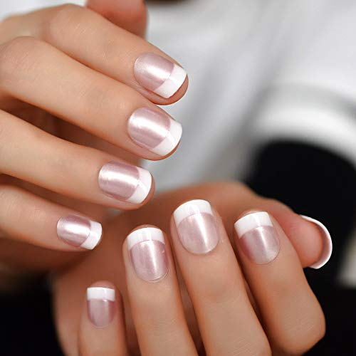 Pearl Shine Pink French Nail White Round Fake Nails Short Glossy Satin Artificial Lady Fingernails with Adhesive Tabs