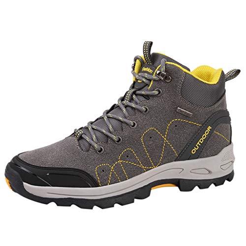 HDUFGJ Herren Damen High Atmungsaktiv Trekking-& Wanderschuhe Laufschuhe Outdoor-Schuhe Bequem Mode Freizeitschuhe Leichtgewicht Faule Schuhe Turnschuhe Fitnessschuhe Flache Schuhe43(Grau)