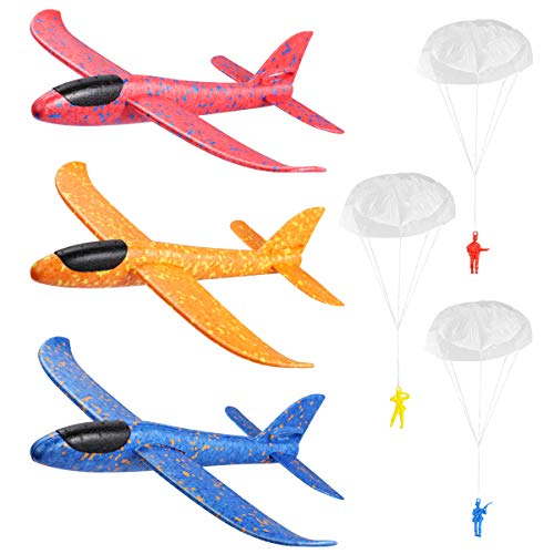 Toyvian Flying Foam Gliders Airplane Set, 3Pcs 37 x 35cm Glider Planes with...