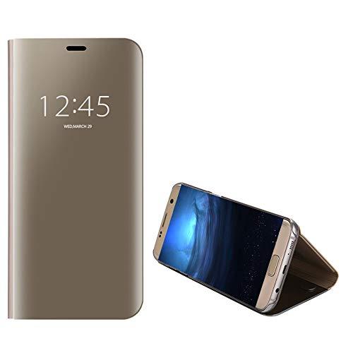 Anfire-ES Funda de Teléfono para Samsung Galaxy S7 Edge, Flip Smart Carcasa Case, Auto Sueño/Estela Soporte Plegable, Clear View Premium Cover, Transparente Bumper Tapa Funda - Dorado