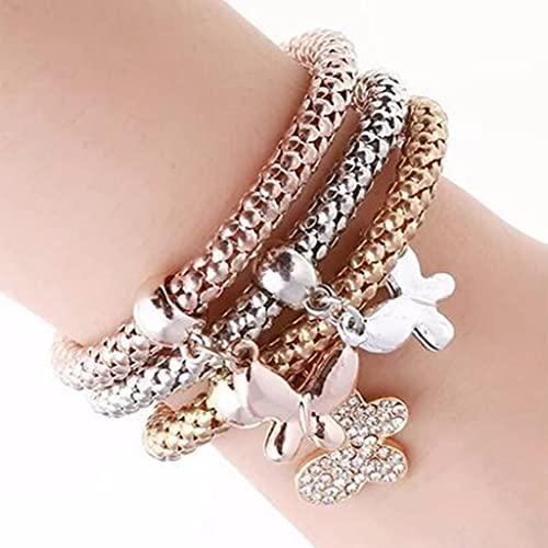 Branets - Pulseras de mariposa boho, pulsera de cristal dorado, cadena de mano con cuentas, joyería para mujeres y niñas (3 piezas)
