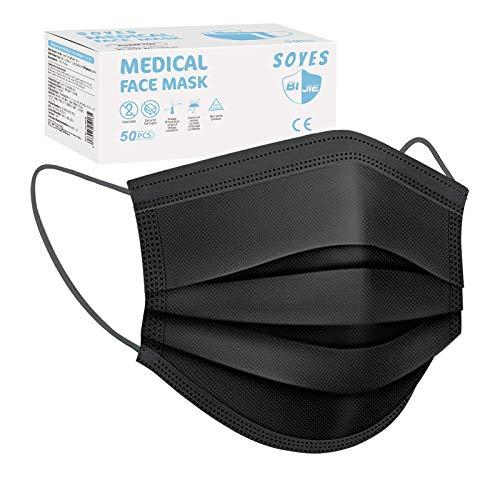 SOYES Einwegmasken, TYP IIR 3-lagig Mund Nasen Gesichtsmaske CE Zertifiziert, Atemschutz Maske Universaldesign für Erwachsene (50 Stück)