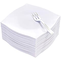 A WHOLE PACKAGE : This set contains 50pcs white plastic plates and 50pcs 5inch silver plastic forks so that you could serve about 50 guests. HIGH QUALITY AND INEXPENSIVE:These square plastic plates are made of good heavy-duty plastic which is durable...