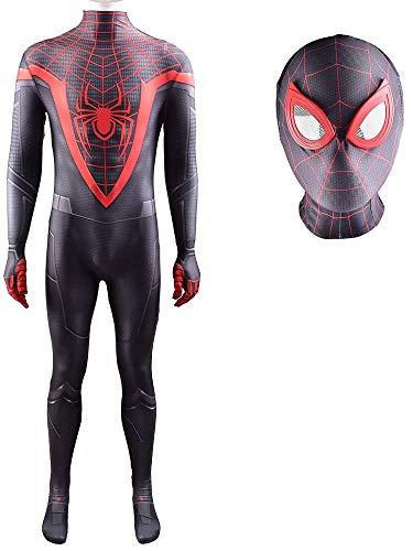 NVHAIM Miles de superhéroes Morales Body, Spider-Men Cosplay Disfraz Lycra Traje de Halloween, Estéreo 3D Mascarilla Roja, Adult M