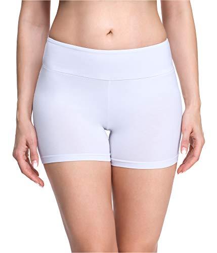 Merry Style Damen Shorts Radlerhose Unterhose Hotpants Kurze Hose Boxershorts aus Viskose MS10-284(Weiß,L)