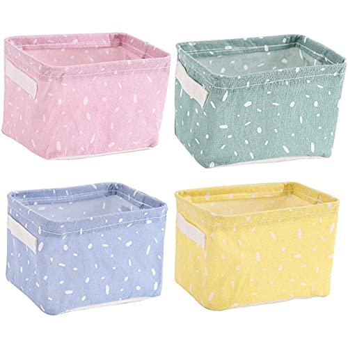 Juego de 4 cestas de almacenamiento, plegables, de tela, organizador con 2 asas, resistentes al agua, para niños pequeños, de lino, organizadores para estanterías y escritorios (lunares)