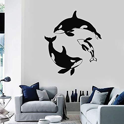 Ballena océano tatuajes de pared océano océano estilo dormitorio de los niños sala de estar decoración del arte del hogar vinilo pegatinas de pared jardín de infantes lindo mural