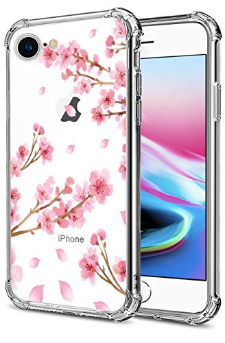 Cherry Blossom iPhone SE 2020 Case, iPhone 7 iPhone 8 Case Clear, Sakura Flower Back Cover, Transparent Soft TPU Bumper Shockproof Protective Case