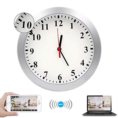 GEQWE Cámaras Espía Ocultas, Cámara De Seguridad Web Inalámbrica Reloj De Pared CCTV WiFi Baño Invisible Vigilancia del Bebé En El Dormitorio Ocultar Detector De Movimiento Instantanea