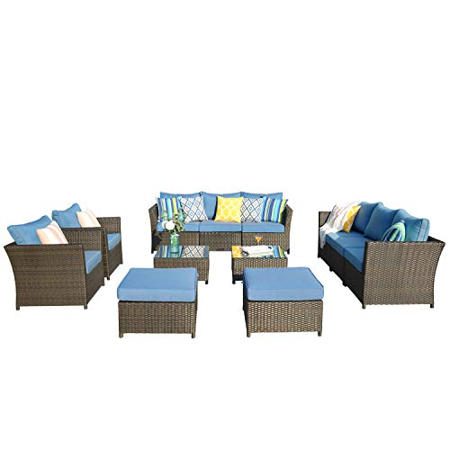 XIZZI Patio Furniture,PE Rattan Wicker Outdoor Furniture,with Patio Furniture Covers and 4 Pillows, No Assembly Required Furniture (12 PCS, Blue)
