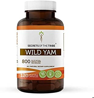 Secrets Of The Tribe Wild Yam Capsules 800 mg Responsibly farmed Organic Wild Yam (Dioscorea Villosa) Dried Root, Hormone ...