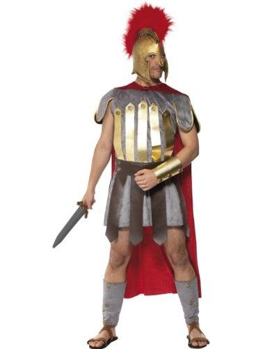 Smiffys Déguisement Homme Guerrier Romain, Tunique, cape, jupe armure, manchettes pour bras et jambes, Taille: L, Couleur: Rouge et Gris, 20374L
