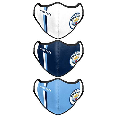 Forever Collectibles UK EPL MANCHESTER CITY FC FOOTBALL PREMIER LEAGUE CHAMPIONSHIP SPORT FACE COVER - 3 PACK