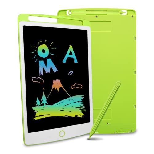 Richgv Tableta de Escritura LCD, Pizarra Infantil 10 Pulgadas, Pizarra magnética para niños, Juguetes electrónicos para Dibujar y Aprender (Verde)