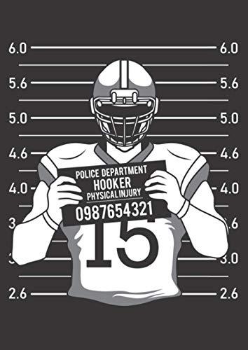 A4 Notizbuch liniert mit Softcover Design: American Football Rugby Verhaftung Foto Gefängnis: 120 linierte DIN A4 Seiten