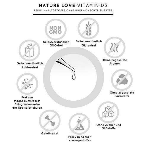 NATURE LOVE® Vitamin D3 5000 (50ml flüssig) - Mehrfacher Sieger 2020* - Laborgeprüfte 5000 I.E. pro Tropfen - Hochwertig: sehr hohe Stabilität - Hochdosiert, in Deutschland produziert - 7