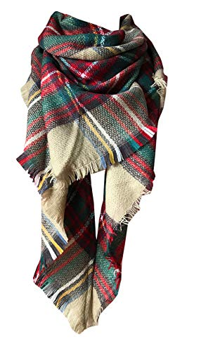 Wander Agio Womens Warm Scarf Triangle Shawls Large Scarves Stripe Plaid Fichu Triangle Camel Colour 7