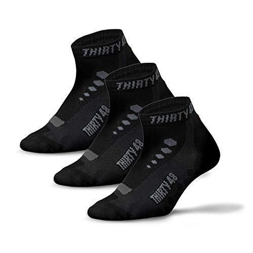Thirty48 Low Cut Cycling Socks for Men and Women | Unisex Breathable Sport Socks (Large - Women 9-12 // Men 8-11, [3 Pairs] Black/Gray)