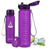Baomay Botella de Agua Deportiva 1000ml, Adultos/Niños Bottle con Filtro, Bidon de Bebidas Plástico Tritan, para Gimnasio, Ciclismo, Trekking | Sin-BPA & Impermeable & Reutilizable (Orquídea)