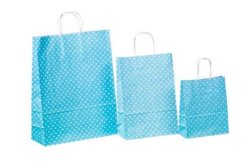 250 Kordel Papiertragetaschen Einkaufstüten aus Papier Geschenktüten mit Papierkordel Henkel Blau Hellblau mit weißen Punkten Pünktchen Polka Dots Verschiedene Größen zur Auswahl (22+11x31cm)