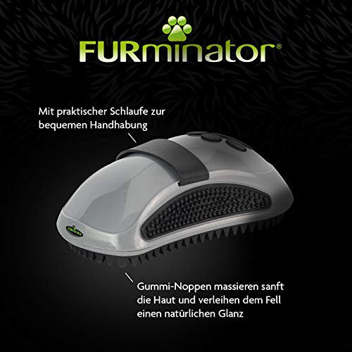 FURminator Striegel für Hunde, Fellpflege Hundebürste zum Ausbürsten von Staubundlosem Haar für gesundes glänzendes Fell, mit Gummi Noppen und ergonisch geformtem Griff - 3