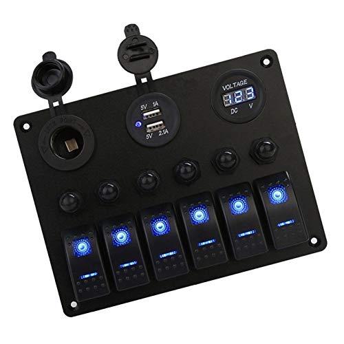 Juan-375 Interruptores basculantes de Coche de Barco Gang, Rocker Interruptor del Panel de Marina del Barco, a Prueba de Agua voltímetro Digital y los Puertos duales USB para camión de Barco sedán