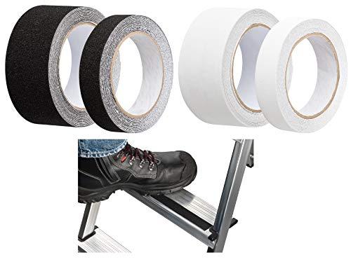 5m Antirutschband Selbstklebend – für Stiege Treppe Gerüst Leiter - Aussen & Innen - 25mm oder 50mm breit – Transparent oder Schwarz (5m x 25mm Schwarz)