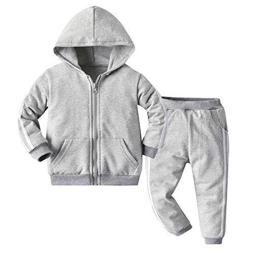 renvena Kinder Sport Kleidung Set Jungen Mädchen Trainingsanzug Jogginganzug Langarm Sweatshirts mit Hose Streetwear für Herbst Winter (134-140, Z Grau)