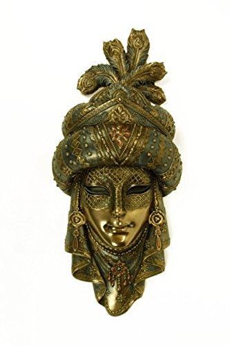 CAPRILO Adorno Pared Decorativo Máscara Veneciana Árabe Resina. 13 x 30 x 5 cm.