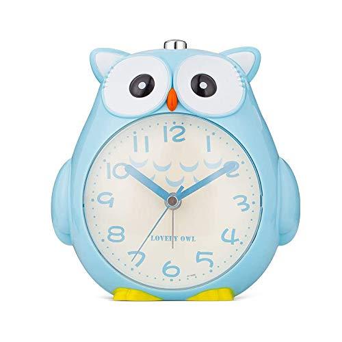 FAFAFA Kinder Eule Wecker,Wecker Kinder ohne Ticken Kinderuhr mit nachtlicht (Blau)