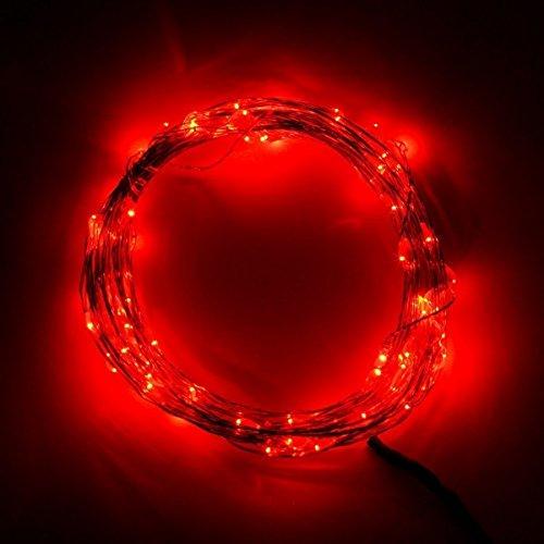 Pixnor 10 M/33 ft DC12 V 100 LED étanche Fil de cuivre Starry LED String Lights avec Bloc d'alimentation