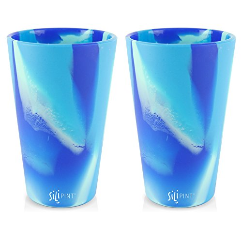 Silipint Silicone Pint Glass. Unbreakable, Reusable, Durable, and Guaranteed for Life. Shatterproof 16 Ounce Silicone Cups for Parties, Sports and Outdoors (2-Pack, Arctic Sky)