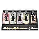 DIVINEXT Cash Drawer 5 Bills 4 Coins ABS Cashier Storage Box for Super Markets | 40.4 X 24.4 X 3.6 cm | Black
