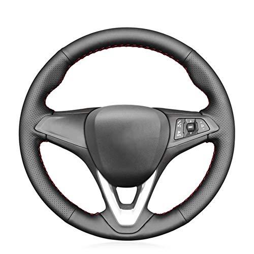 LKJsagd Funda de Cuero Cosida a Mano para Volante de Coche, para Opel Astra K Corsa E Karl 2014-2020