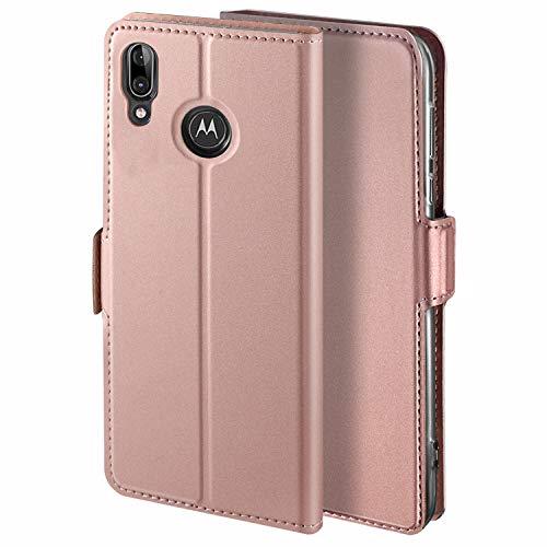 HoneyHülle für Handyhülle Motorola Moto E6 Plus Hülle Leder Premium Tasche Hülle für Motorola Moto E6 Plus, Schutzhüllen aus Klappetui mit Kreditkartenhaltern, Ständer, Magnetverschluss, Rose Gold