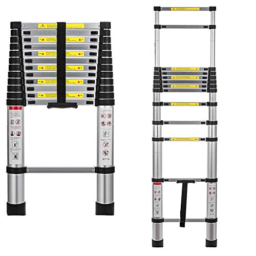Hihone 125quot Telescoping Ladder Straight Portable Telescopic Extension Ladder 300LBS Capacity Heavy Duty Aluminum Material AntiSlip Foot with Spring Loaded Locking Each Rung