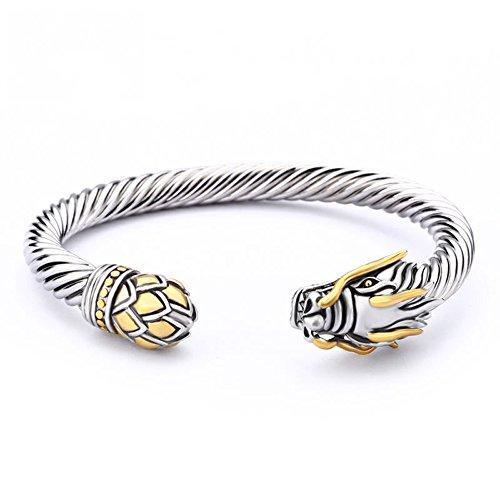 UNY Jewelry Chinese Dragon Rhodium Plated Bracelet Cuff...