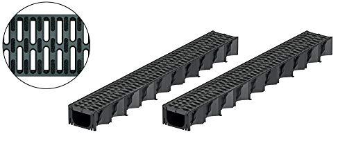 2x1m ACO Hexaline 2.0 Entwässerungsrinne mit Microgrip Stegrost Rinne Bodenrinne Terrassenrinne
