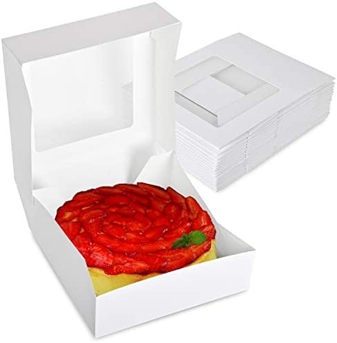 Stock Your Home 8 x 8 Inch White Pie Box with Window 25 Count White Bakery Box with Auto Pop product image