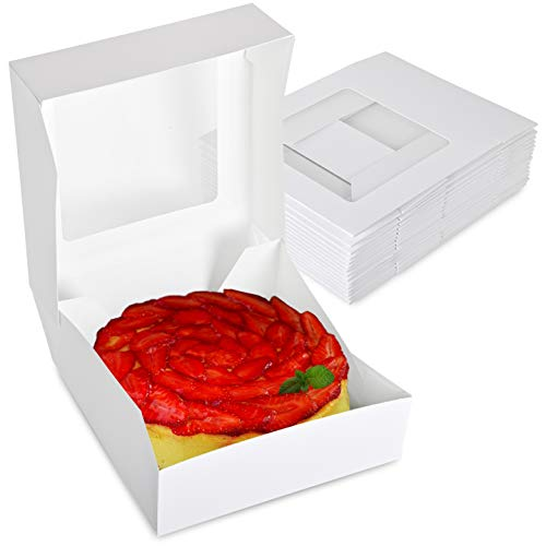 Stock Your Home 8 x 8 Inch White Pie Box with Window - 25 Count - White Bakery Box with Auto Pop-up Design and Window for Displaying Pastries, Cake, Pies, Cookies, and More