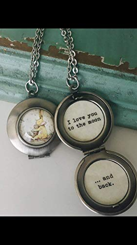 I love you to the moon and back necklace locket, bunny locket, stainless steel