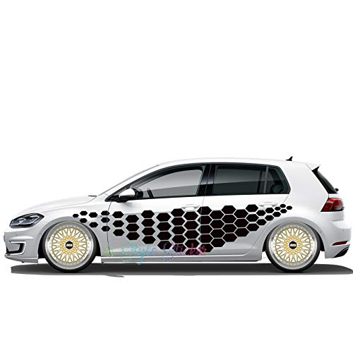 Seitenaufkleber Rauten Waben Logo Polo Passat Camo Style Decor Autoaufkleber Motive Seitenverklebung Auto Tür Beklebung Motorhaube
